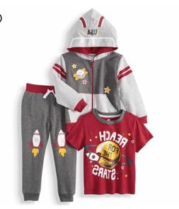 Boys Reach for the Stars 3 Piece Outfit - Hooded Jacket Shir