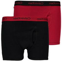 Calvin Klein Boys Red & Black 2 Pack Boxer Briefs Size 4/5 6