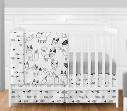 Sweet Jojo Designs Bumperless Black Fox Arrow Baby Boy Girl