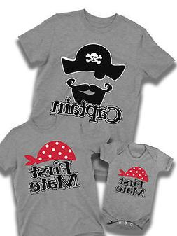 Captain First Mate Pirates Family T-Shirt Mens Dad Boys Girl