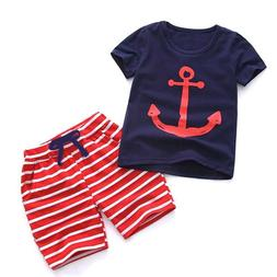 Clothing Set For Boys Toddler Short Sleeve Shirt Elastic Wai