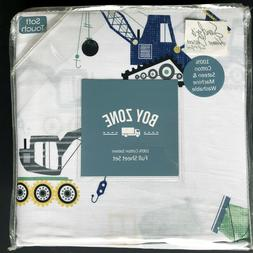 Boy Zone CONSTRUCTION Kids FULL SHEET SET Blue Green CRANE C