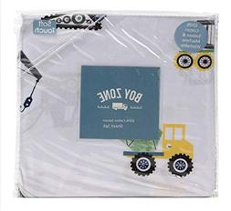 Boy Zone Construction Full Sheet Set 4 pc Cotton Trucks Trac