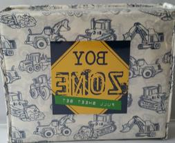 BOY ZONE Construction Vehicles Blue White 4PC FULL SHEET SET