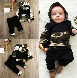 Cool Camo Baby Boys Outfits Long Sleeve Hooded Outfit Set Fo