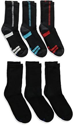 Hanes Boys' Big 12-Pairs Crew Socks, Black Medium