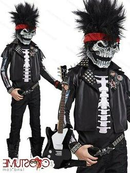 Dead Man Rockin Boys Costume Kids Scary Mask Fancy Dress Hal