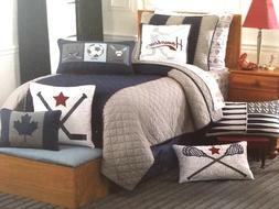 Boy Zone Denim Blue Grey Red Sports Full Queen Quilt