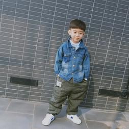 Denim jacket for boys and girls with long sleeve jacket casu