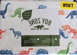 Boy Zone Dinosaur Twin Size Sheets Set Flat, Fitted, Pillowc