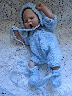 Doll Clothes Blue Handknitted set for cloth body baby boy 10