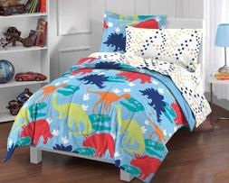 Dream Factory Dinosaur Prints Boys Comforter Set, Multi-Colo