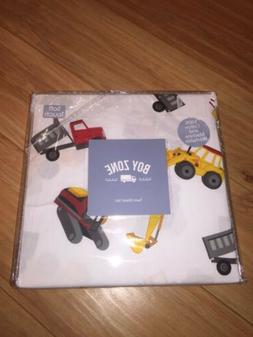 Boy Zone Dump Truck Twin Sheet Set - White Red Yellow & Gray