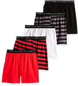 5-Pack Hanes Boys' Exposed Elastic Knit Boxer B539P5, Assort