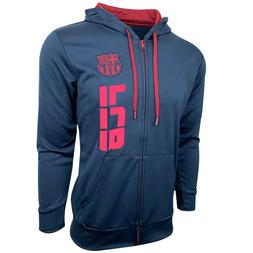 Fc Barcelona Hoodie for Adults and Boys, Zip Front Fleece Sw