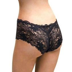 Floral Lace Boy Short Panty for Women, Small, Fetish Black