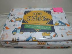 Boy Zone Full Sheet Set CONSTRUCTION SITE VEHICLES CONES ~ B