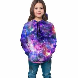 Galaxy Print Youth Graphic Hoodies Sweatshirt All-over Long