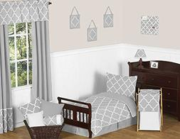 Sweet Jojo Designs 5-Piece Gray and White Modern Trellis Kid