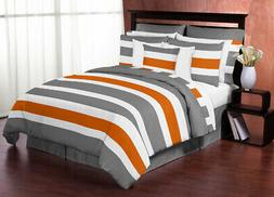 Grey Orange And White Stripes Twin Childrens Teen Boy Room B