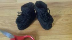 Hand knitted baby booties,size 6-9  months,black color,for b