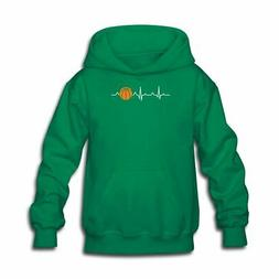 Heart Beats For Basketball ECG Kids' Hoodie