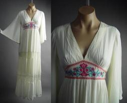Ivory Embroider Empire Waist Mexican Peasant Gown Caftan Max