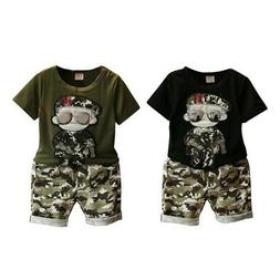 Kids Baby Boys Camouflage Clothes Set Short Sleeve T-Shirt T