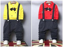 Kids Baby Boys Tops+ Pants Overalls sets Clothes For School