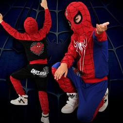 Kids Boys Cool Spiderman Cosplay Sweatshirt Hoodies and Pant