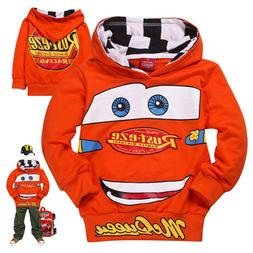 Kids Boys Girl Cartoon Cars Lightning McQueen Hooded Pullove