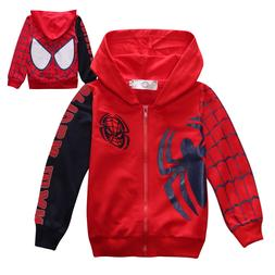 Kids Boys Toddlers Superhero Spiderman Hooded Zipper Sweatsh