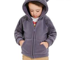 Kids Coat Jacket Hooded Outerwear For Boys Thick Soft Fleece