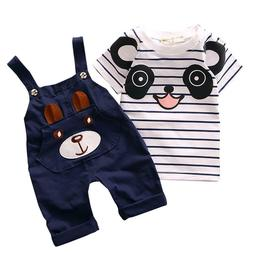 Kids Cotton Clothes For Boys  Set Little Bear Stripe Short-S