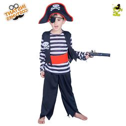 Kids Striped Pirate Costumes Boys Noble Buccaneer Performanc