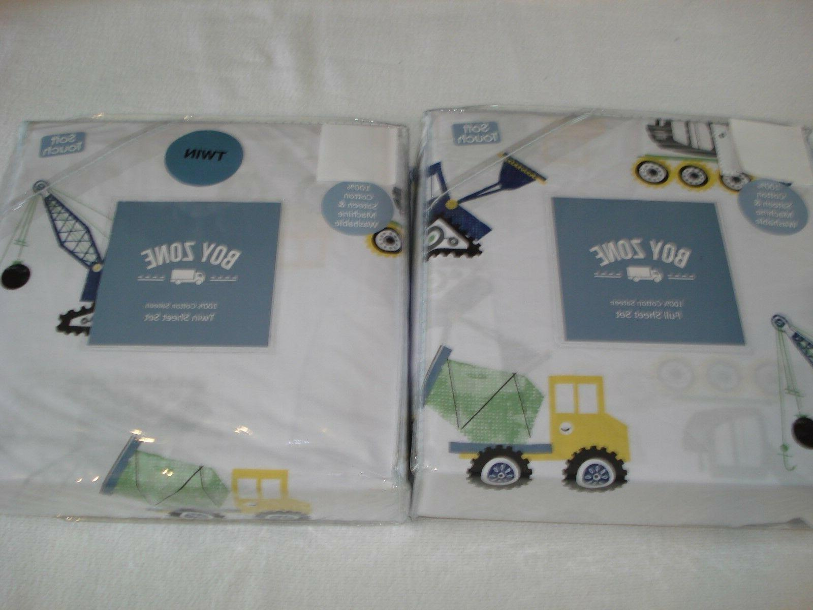 BOY ZONE 100% Cotton CONSTRUCTION Trucks Sheets TWIN or FULL