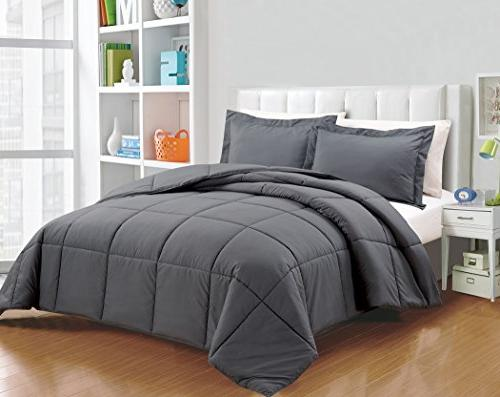Chezmoi Collection 3-Piece Down Alternative Comforter Set