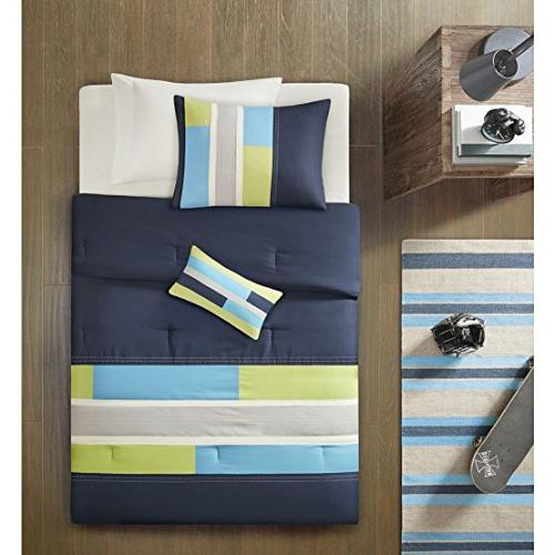 Mi-Zone Full/Queen Bedding Sets - Navy Blue, Boy Ultra Soft Microfiber Childrens