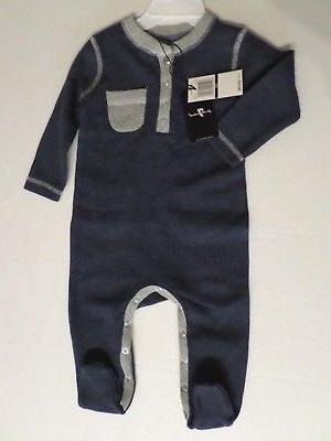 7 For All Mankind Baby Boys Cotton Blend Thermal Sleeper Nav