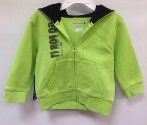 Champion Baby Clothing Go For It Zip Up Neon Green Hoodie Sz