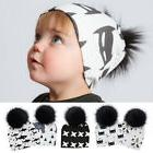 Baby Hat Pompom Fur Caps Cotton Hat for Kids Animal Prints C