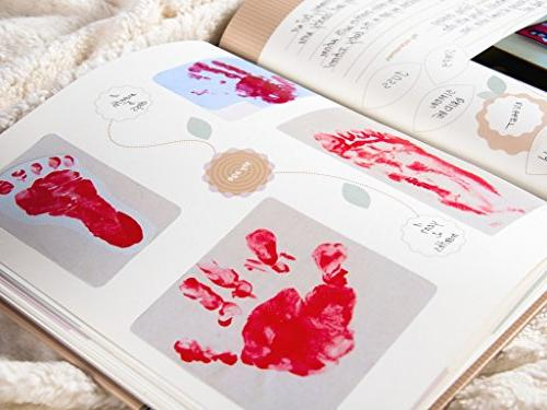 Baby Book First Year & Pregnancy   Simple and Handprint Sonogram - Album Milestone Book for Newborn and Girl