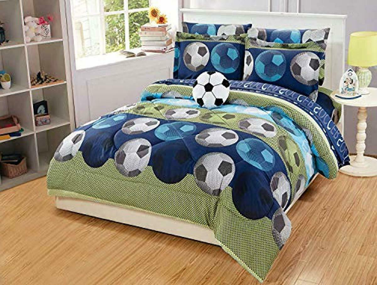 blue green soccer design 8 piece comforter