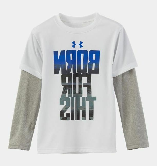UNDER ARMOUR Boy's BORN FOR THIS SLIDER L/S T-Shirt *WHITE/B