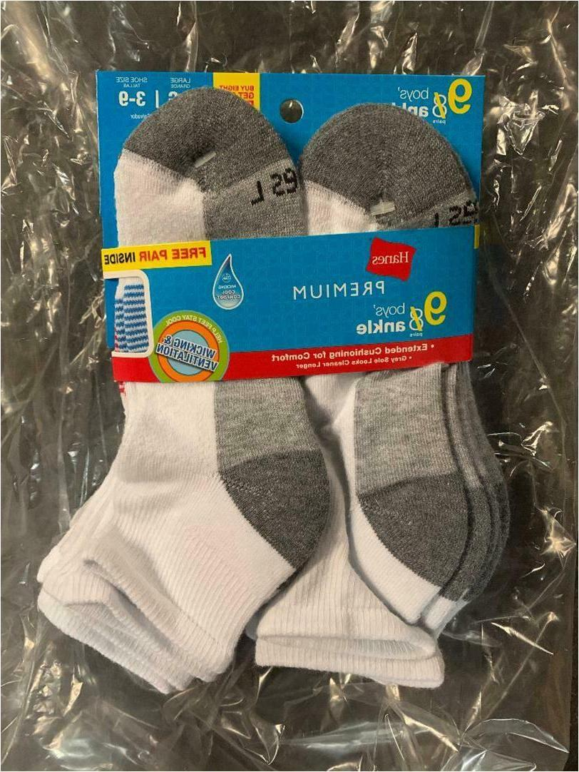 Hanes Premium Boys' 9 Pack Ankle Socks - White Large- shoe s