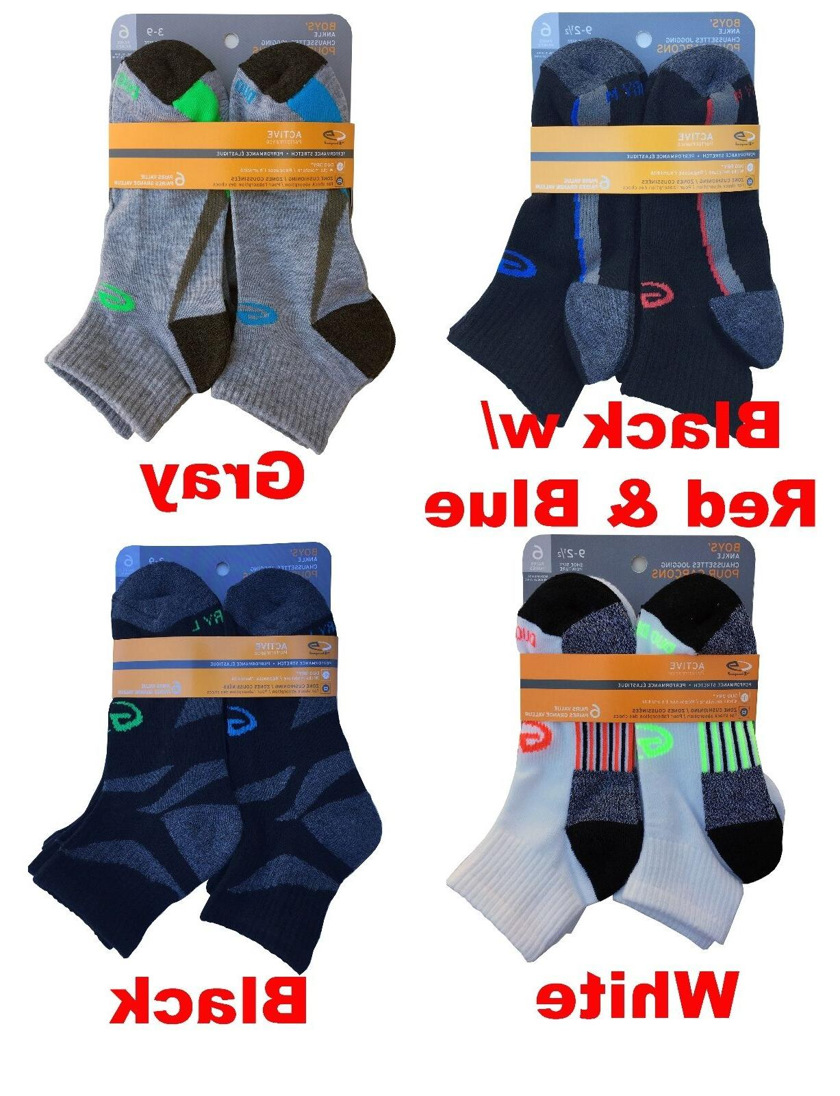 C9 By Champion Boys' Ankle Socks 6-Pack DUO DRY & PREFORMANC