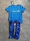 Champion Boys Size 7 Blue Spellout Short Set with large spel