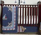 Bumperless Navy Blue Nautical Boat Themed Baby Boy 4p Crib B