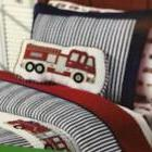 Boy Zone Fire Truck Matching Quilted Standard Pillow Striped