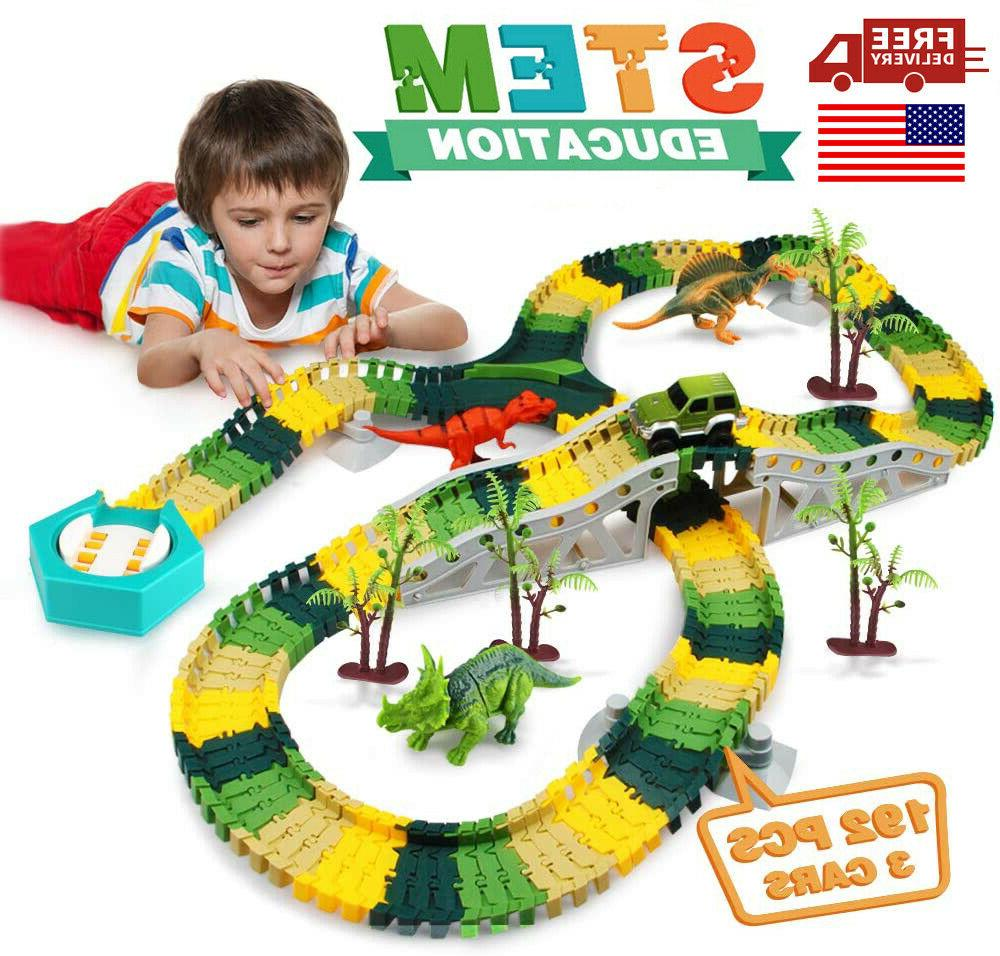flexible track toy set 192 pcs dinosaur